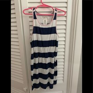 Girls navy and white striped dress. Size 6-8.